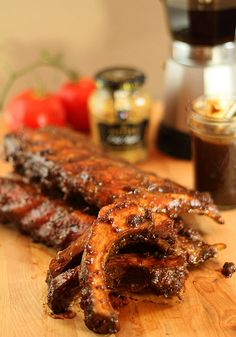 Smoked Baby Back Ribs with Espresso BBQ Sauce - OMG I need to make this!
