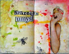 #artjournal pages by Retro Drobiazgi using 3rd Eye #honeycomb #stamp