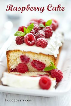 Raspberry Cake - not vegan, love the idea of having raspberries in the middle though!