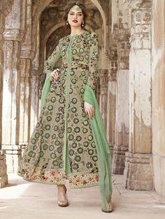 Green Georgette Embroidered Anarkali Suit #Anarkali #Green