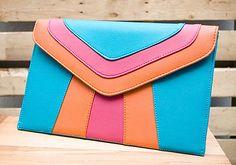 Turquoise, Fuchsia & Orange Color Block Clutch