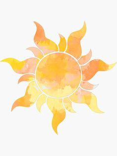 'Orange and Yellow Sun Watercolor' Sticker by livpaigedesigns Watercolor Stickers, Watercolor Paintings, Sun Drawing, Sun Illustration, Cute Sun, Orange Art, Sun Art, Yellow Sun, Whimsical Art