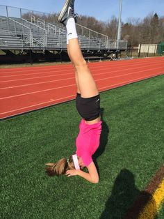 Unit 4 Vestibular Sense: Lizzie Dietz is showing her incredible sense of balance by keeping her legs in the air and balancing on her head and arms. This is a yoga pose that takes skill.