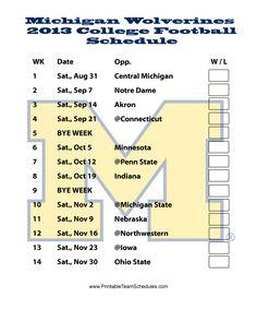 Michigan Wolverines 2013 College Football Schedule