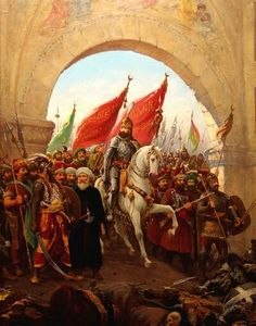The Ottoman Empire, also known as the Turkish Empire, Ottoman Turkey or Turkey, was an empire founded in 1299 by Oghuz Turks under Osman I in northwestern Anatolia. After conquests in the Balkans by Murad I between 1362 and 1389, the Ottoman sultanate was transformed into a transcontinental empire and claimant to the caliphate. The Ottomans ended the Byzantine Empire with the 1453 conquest of Constantinople by Mehmed the Conqueror.
