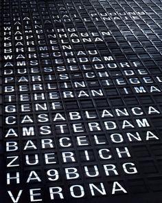 Departures sign, Frankfurt airport, Germany - we're heading to Casablanca!