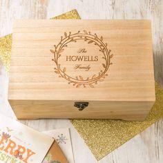 Personalised Mistletoe Wreath Family Keepsake Box