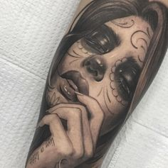 black & gray day of the dead tattoo