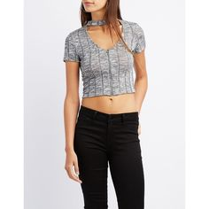 4fb48952bd53c Charlotte Russe Choker Neck Zip-Front Crop Top ( 19) ❤ liked on Polyvore