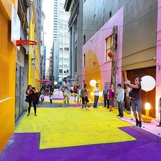 A downtown Vancouver laneway (south of West Hastings between Granville and Seymour) was recently transformed into a bright, public space. In the alley you'll find basketball hoops and mini soccer nets for use, and at night a bar set up. #exploreBC