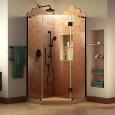 DreamLine Prism Plus 40 in. W x 40 in. D Frameless Shower Enclosure in Satin Black Finish with Black Shower Base at Menards®: DreamLine Prism Plus 40 in. W x 40 in. D Frameless Shower Enclosure in Satin Black Finish with Black Shower Base Steam Shower Enclosure, Corner Shower Enclosures, Frameless Shower Enclosures, Frameless Shower Doors, Shower Stalls, Bathtub Enclosures, Angles, Corner Shower Kits, Corner Showers