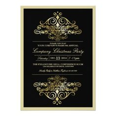 Elegant Formal Company Christmas Party Invitation Cards for companies, corporations, businesses in black, gold, white design. Stylish and elegant office/company party invitations you personalize for your big holiday event