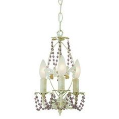 Trans Globe 3 Light Crystal Mini-Chandelier in Antique White