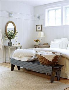 A basket for clean and soiled linens does double duty. Stores when they arrive, and a spot to but the dirty ones when they leave.