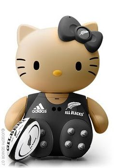 Maybe mom will like rugby now. All Blacks Rugby Hello Kitty. Hello Kitty Art, Hello Kitty Dress, Here Kitty Kitty, Rugby Girls, Hello Kitty Characters, All Blacks Rugby, Kitty Images, Miss Kitty, Hello Kitty Collection