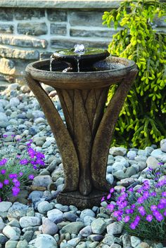 Cast stone two tier fountain Shown in finish Burro Brown Stone includes LED light H W Base Diameter 11 93 lbs 289 Please ask for shipping quote This item will be ready to ship in weeks Stone Garden Fountains, Patio Fountain, Garden Stones, Concrete Fountains, Landscaping With Rocks, Garden Landscaping, Natural Pond, Backyard Water Feature, Shops