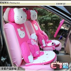 29PCs Cute Pink&Rose Hello Kitty Car Accessories Car Seat Covers For Gift Women