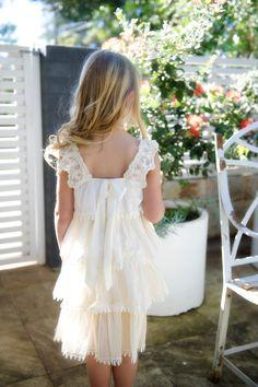 Seashell Beaded Dress by Tea Princess flower girl beach wedding flowergirl ivory flower girl vintage flower girl