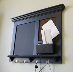 Wall Mail Organizer - FitzWoodys Furniture Wood Framed Cork Bulletin Board  or Chalkboard with Mail Slot, College Dorm Message Center. Mail HolderKey  ...