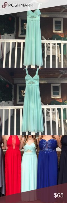 "Prom dress blue! Super cute prom dress only worn once to prom! I'm good condition! Has small stain on bottom from the grass. It other than that it's great! Such a cute color and got so many compliments on it!💗 the dress says size 8 but it's really is a size 2 because the place didn't have this dress in my size and I loved it so much I got it tailored to fit my size which is a size 2 in dresses!!! any more questions just let me know! 5'2"" female and wore 3 inch heels ! prom girl Dresses Prom"