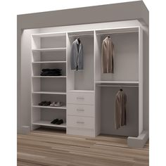 TidySquares Classic White Wood Reach-in Closet Organizer Design 3 (White) (Chrome)