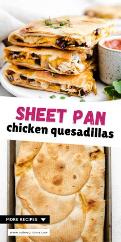 These sheet pan chicken quesadillas are super easy to make and feed a crowd! You'll love how simple this dish comes together and is packed with seasoned shredded chicken, corn, black beans, and lots of delicious cheese. Easy Chicken Recipes, Veggie Recipes, Lunch Recipes, Mexican Food Recipes, Easy Recipes, Fancy Dinner Recipes, Delicious Dinner Recipes, Dinner Ideas, Quick Meals