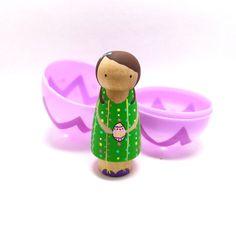 Wooden Peg Doll Easter Egg Girl van abbyjac op Etsy