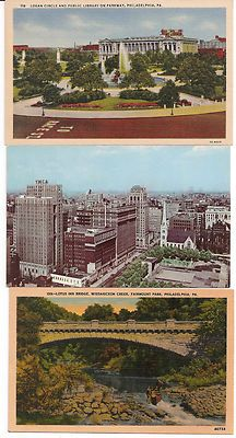 Vintage Philadelphia postcards: Logan Circle/Free Library, Center City view, Wissahickon Creek/Fairmount Park. (eBay)