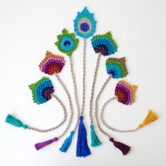 This is a listing for 1 crocheted bookmark. It is the finished item and not a pattern. This one is READY TO SHIP.  This crochet bookmark in the form of a peacock feather would make for a lovely and original birthday, teacher or Christmas gift. It is my original design and has been handmade by me. For more original gifts, please see the Handmade by me Section in my shop: https://www.etsy.com/shop/TheCurioCraftsRoom?ref=hdr_shop_menu§ion_id=19119315  Measurements: Peacock feather approx. 8.5…