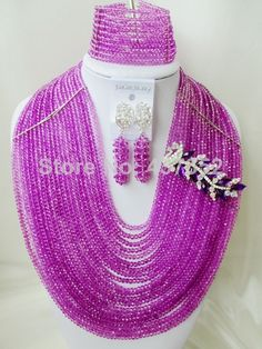 Fashion Brooches 20 layers Purple Crystal Nigerian African Wedding Beads Jewelry Set CPS5272 $118.92