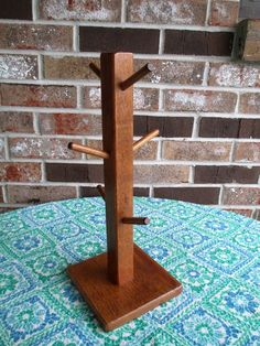 Solid Oak Wood Coffee Mug Tea Cup Tree Stand Rack Holder Holds 6 Cups #Unbranded
