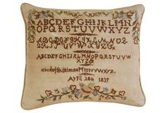 Hand-Stitched Sampler Pillow,  C. 1837