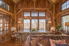 Timber Frame Homes - Homestead Timber Frames - Handcrafted Timber Frames - Timber Frame Living Room - Heavy Timber
