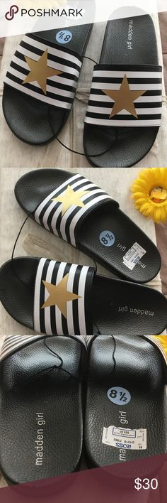 🆕 Madden Girl Stars and Stripes Slides These Madden Girl Slides are brand new with tags (No box!) and never worn. They have a very trendy star and Stripes design! Super trendy slides, a total must have for summer!! Size is 8.5. Offers welcome! Madden Girl Shoes Sandals
