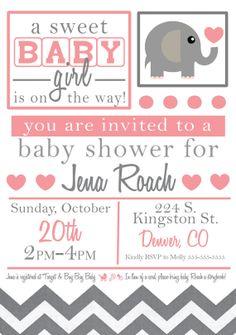 Baby Girl Elephant Baby Shower Invitation by LovelyLittlePaper, $10.00