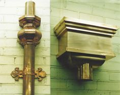 Conductor Heads and Downspouts made by Nationwide Slate Slate, House Design, Copper, Copper Gutters, Drains, Door Handles, Sconces, Vintage, Wall Lights