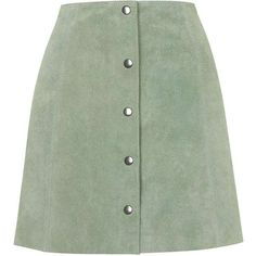 TOPSHOP Suede Button Front A-Line Skirt ($140) ❤ liked on Polyvore featuring skirts, bottoms, faldas, saias, pale green, button front skirt, topshop, green a line skirt, topshop skirt and button front a line skirt