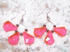 Hot Pink Diamond Burst earrings OOAK by ultraterrestrial on Etsy, $8.00