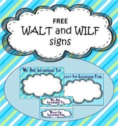 A Crucial Week: Freebie Friday: WALT and WILF posters for sharing learning objectives and expectations