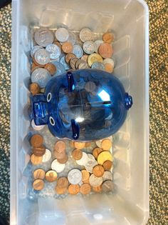 Put In Task- place the coins in the piggy bank! Could also sort coins Sensory Bins, Sensory Activities, Learning Activities, Preschool Activities, Occupational Therapy Activities, Sensory Rooms, Physical Activities, Motor Skills Activities, Gross Motor Skills