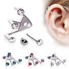 If you're looking for unique jewelry then look no further. Crafted out of the highest quality 316L Surgical Steel this earring features two separate pieces that combine to add a triple gem effect. A gemmed barbell and an adjustable claw keeps the earring in place on your lobe or cartilage, the metallic base hides behind the ear allowing just the cute gems to peek over. FashionHut.net #fashionhutjewelry