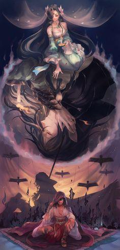 地に落つ魔鳥  戦乱の最中、誰が射ったともわからない一閃の矢が彼を捕らえた。 それは一級の弓兵が放ったものでも特別な力が篭ったものでもなく、ごくごく平凡な矢であった。 普段の彼であれば、難なく跳ね除けることができただろう。 しかしすでにその体にも、背負う雄雄しき黒翼にも、それだけの力は残されていなかった。  冷えていく体は重く、風を切って落ちてゆく。飛べることが仇となったか…この高さから落ちれば助からないだろう。 静かに瞼を閉じる間際、彼の目に映ったのは片翼を携えた愛しい人の顔だった。  -ああ、私とて知らないわけではありません。彼女は…。 それでも欲を言うのなら、最期にこの名を呼んでほしかった-  これが黒翼の魔導師が紡いだ第一幕の事の顛末でございます。 #art #illustration #manga