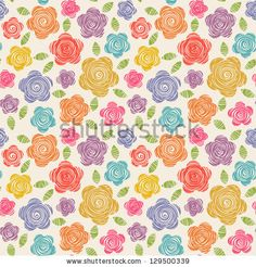 Vector seamless pattern with flowers of doodles made using stencil. Cute floral colorful background in hand draw childish style. Abstract summery simple illustration. Ornamental texture for print, web