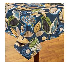 Capri Tropical Navy Blue Zipper Patio Umbrella Fabric Tablecloth 60 X 84  Rectangle/Oblong Benson
