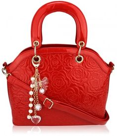 Red Floral Embossed Quilted Handbag