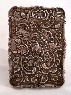 Gorgeous Silver American Victorian Calling Card Case.   Love the idea of using this for business cards