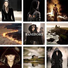 Casa Banefort de Fuerte Desolación. Su escudo es un hombre encapuchado de negro en campo gris con bordura de fuego.  Región: Tierras del Oeste.