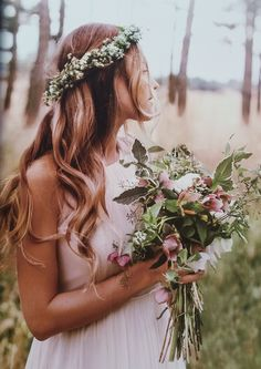 bridal inspiration - boho wedding flower crown and natural rustic wedding bouquet Floral Crown Wedding, Boho Wedding, Wedding Day, Trendy Wedding, Forest Wedding, Woodland Wedding, Autumn Wedding, Summer Wedding, Perfect Wedding