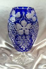 Vintage Bohemian Cobalt Blue Cut To Clear Crystal Vase Grape Design - Czech  27500