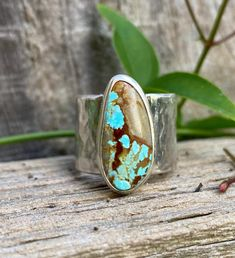 Excited to share this item from my #etsy shop: Turquoise Ring - Wide Sterling Silver Band Hammered Silver, Sterling Silver Chains, Silver Stacking Rings, Snake Ring, Clear Quartz, Statement Rings, Opal, Etsy Shop, Turquoise